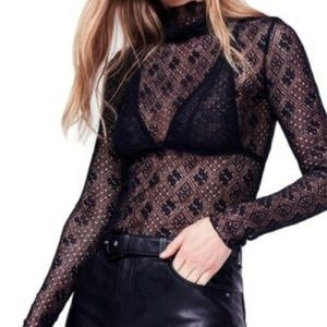 NWT Free People Turtleneck Black Sheer Lace Top XS